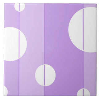Dots and Stripes in FairytalePurple Large Square Tile