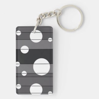 Dots and Stripes in Grey Keychain
