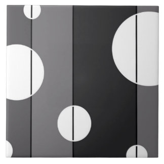 Dots and Stripes in Grey Large Square Tile