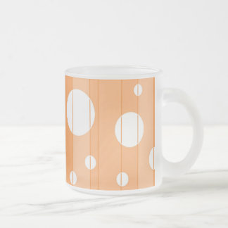Dots and Stripes in Orange Frosted Glass Coffee Mug