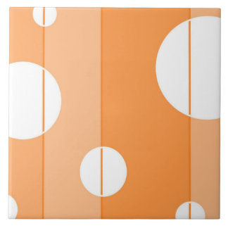 Dots and Stripes in Orange Large Square Tile