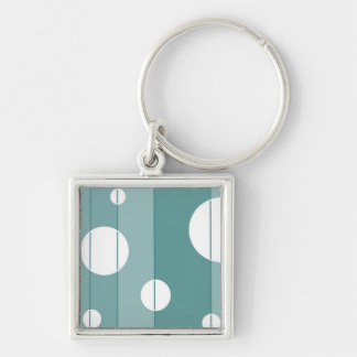 Dots and Stripes in WinterGreen Silver-Colored Square Keychain