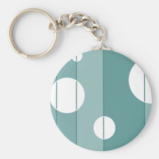 Dots and Stripes in WinterGreen Basic Round Button Keychain