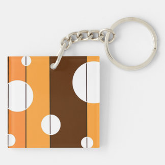 Dots and Stripes in WinterGreen Double-Sided Square Acrylic Keychain