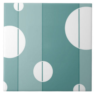 Dots and Stripes in WinterGreen Large Square Tile