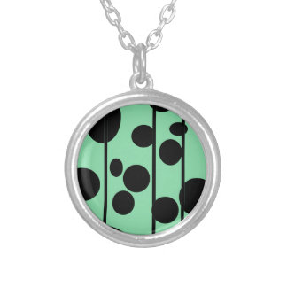 Dots and stripes silver plated necklace