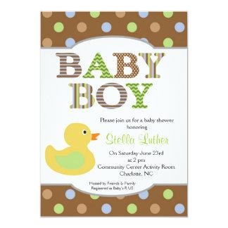 Dots Baby Boy Duck Baby Shower Invitation