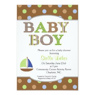 Dots Baby Boy Sailboat Baby Shower Invitation