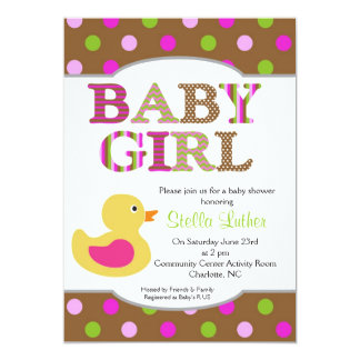 Dots Baby Pink Girly Duck Baby Shower Invitation