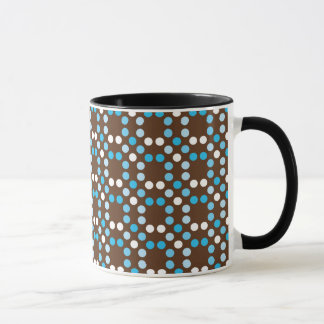 Dots - Blue with Brown Background Mug