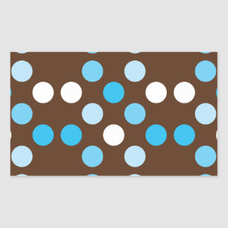 Dots - Blue with Brown Background Rectangular Sticker