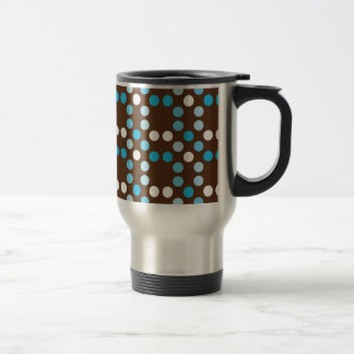Dots - Blue with Brown Background Travel Mug