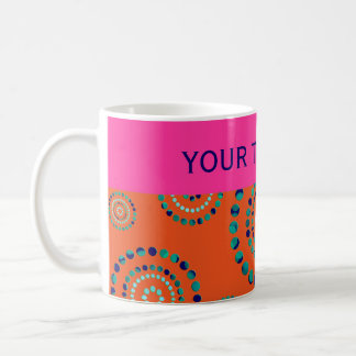 Dots Circle Power Flowers + your backgr. Classic White Coffee Mug