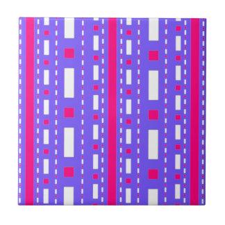 Dots Dash in Magenta Lilac White Ceramic Tile