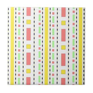 Dots Dash in Yellow Mauve Pastels Tile