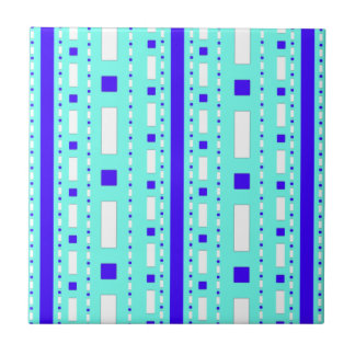 Dots & Dashes in Blue & White Tile