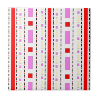Dots & Dashes in Pink, Red & Cream Tile