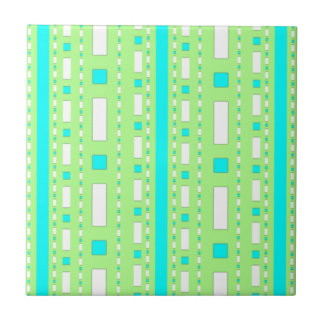 Dots & Dashes in Sea Green & Baby Blue Ceramic Tile