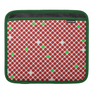 Dots Diagonal Graphical Pattern Red White Green iPad Sleeve