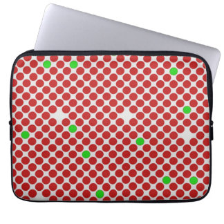 Dots Diagonal Graphical Pattern Red White Green Laptop Sleeve