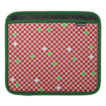 Dots Diagonal Graphical Pattern Red White Green Sleeve For iPads