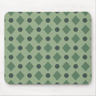 Dots & Diamond Pattern Green Mouse Pad