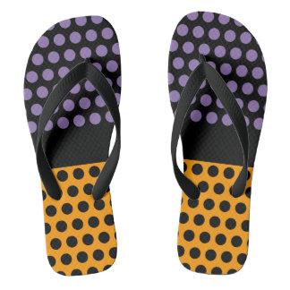 Dots & Dots Grid Pattern Black + your back & idea Flip Flops