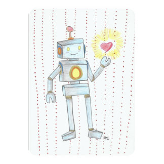 Dots Emapthy Robot Sweetheart invitation cards