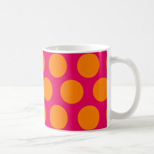 Dots Forever polka dot hot pink and orange Classic White Coffee Mug