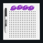 "Dots Game Dry-Erase Board<br><div class=""desc"">You and a friend, brother or sister can have hours and hours of fun playing the classic Dots paper and pencil game! Players take turns connecting two dots up and down or across - if your line closes a square, write your initial in the square and you get to go...</div>"