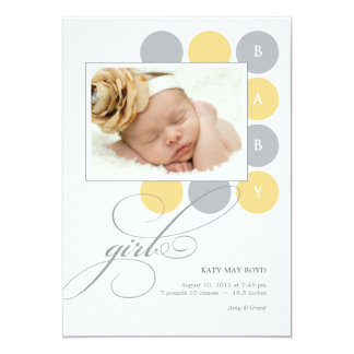 Dots Girl Custom Photo Birth Announcement