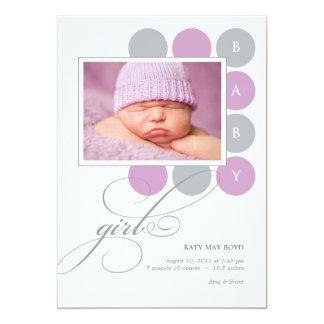 Dots Girl Custom Photo Birth Announcement