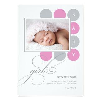 "Dots Girl Custom Photo Birth Announcement 5"" X 7"" Invitation Card"