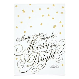 Dots Gold Script Holiday Card