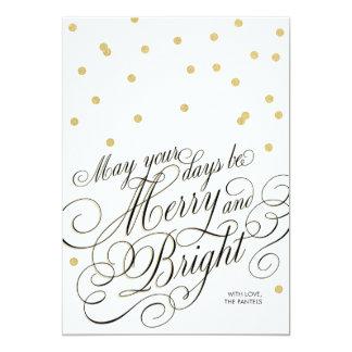 Dots Gold Script Holiday Card