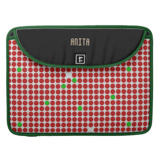 Dots Graphical Pattern Red White Green any Name Sleeve For MacBook Pro