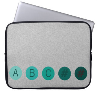 DOTS Green Aqua Initials Laptop Sleeve