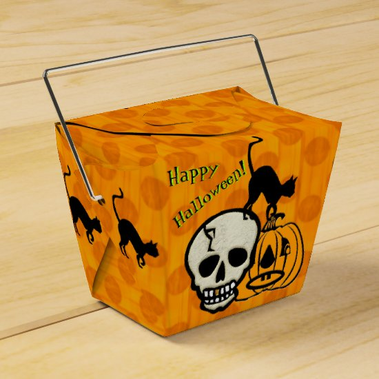 Dots Halloween_Skulls, Black Cats, Jack-0-Lantern Favor Box