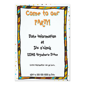 """Dots 'n' Stripes Invitations 5x7 5"""" X 7"""" Invitation Card"""
