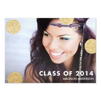 "Dots of Glitter | 2014 Graduation Party Invitation 5"" X 7"" Invitation Card"