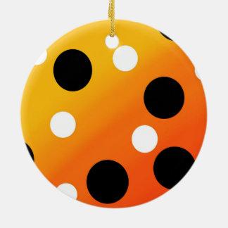 Dots On Blended OrangeToYellow Ceramic Ornament