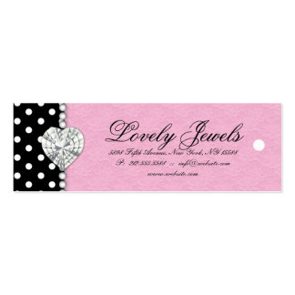 Dots Pearl Lace Jewels Price Tag Pink Double-Sided Mini Business Cards (Pack Of 20)