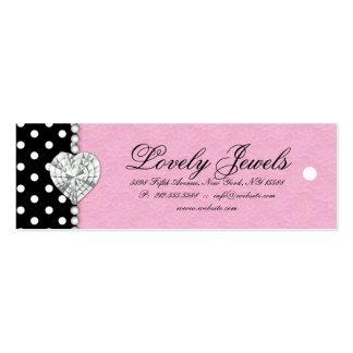 Dots Pearl Lace Jewels Price Tag Pink Mini Business Card