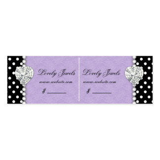 Dots Pearl Lace Jewels Price Tag Purple Double Mini Business Card
