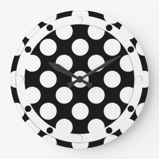 Dots seamless pattern white + your backgr. large clock