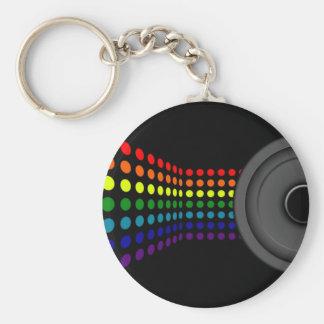 Dots & Speaker Basic Round Button Keychain