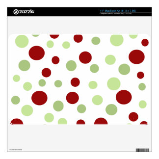 "Dots, Spots (Dotted Pattern) - Red Green 11"" MacBook Air Decal"