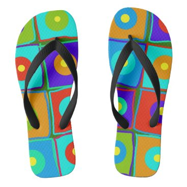 Beach Themed Dots & Squares Flip Flops