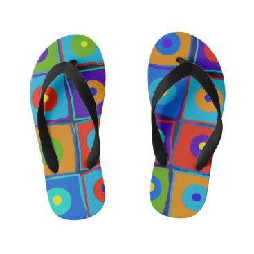 Beach Themed Dots & Squares Kid's Flip Flops