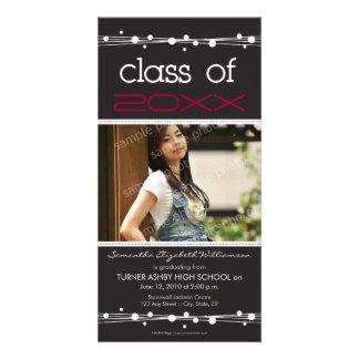 Dots & Straw Graduation Photo Announcement: black Photo Card